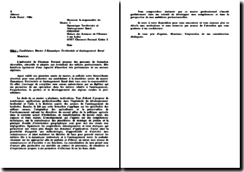 Lettre de candidature, Master 2, dynamique territoriale et aménagement rural