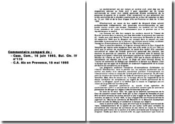 Commentaire comparé de : Cass. Com., 16 juin 1993, Bul. Civ. IV n 110 et C.A. Aix en Provence, 18 mai 1995