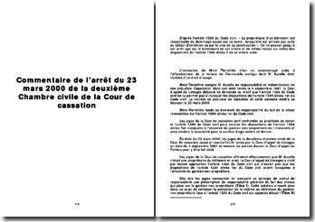 Commentaire de l'arrêt du 23 mars 2000 de la deuxième Chambre civile de la Cour de cassation