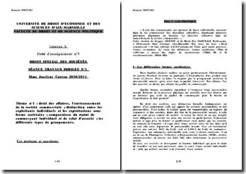 Droit commercial: les formes sociétaires à raison des règles de constitutions et de fonctionnement