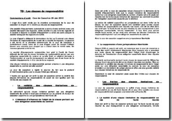 Commentaire d'arrêt, Cour de Cassation 29 Juin 2010: les clauses de responsabilité