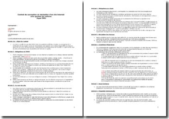 Contrat de conception et réalisation d'un site Internet avec gestion de contenu