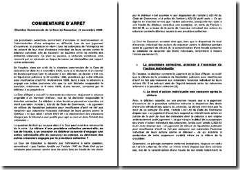 Chambre Commerciale de la Cour de Cassation, 2 novembre 2005: les procédures collectives