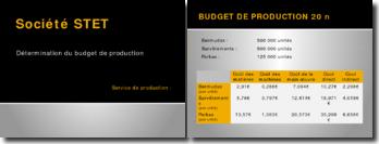 Société Stet: détermination du budget de production