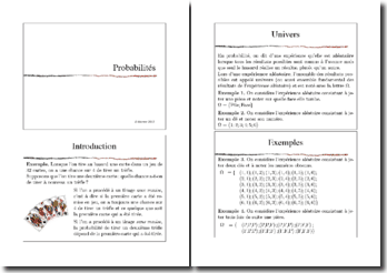 Cours de probabilités - complémentarité, compatibilité, equiprobabilité, indépendance. partition