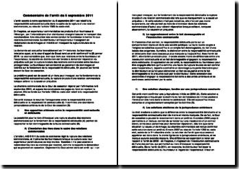 Commentaire de l'arrêt du 6 septembre 2011: responsabilité extracontractuelle dans le cadre de la rupture d'une relation commerciale