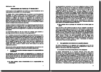 Commentaire de l'arrêt du 17 février 2011: relatif aux causes d'exonération de la responsabilité du commettant du fait de son préposé