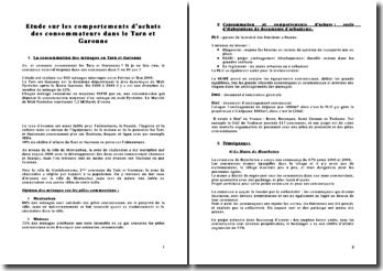 Etude sur les comportements d'achats des consommateurs dans le Tarn et Garonne