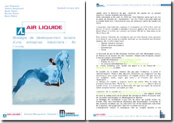 Stratégie de développement durable d'une entreprise industrielle : Air Liquide