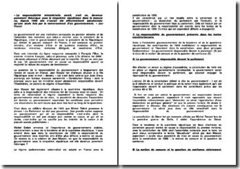 Commentaire sur la citation de Jean Massot: La responsabilité ministérielle serait, croit-on, devenue purement théorique sous la Ve République dans la mesure où, depuis 1958 elle n'aurait été effectivement sanctionnée qu'une seule fois par le