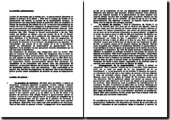 Le contrôle parlementaire: commentaire des articles 49 et 50 de la Constitution