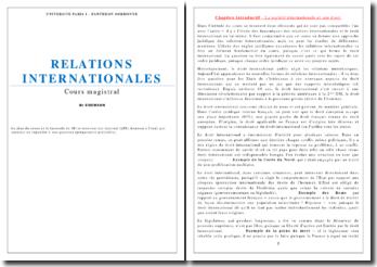 Cours sur les relations internationales - société internationale, acteurs des relations, paix et sécurité