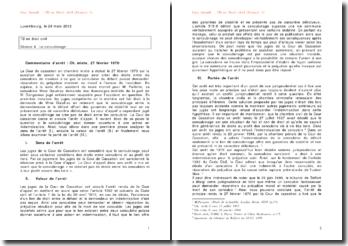 Cour de cassation, Chambre mixte, 27 février 1970: le concubinage peut-il donner ouverture à une action en indemnisation?