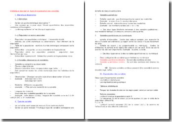 Statistique descriptive: type et organisation des variables