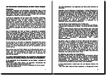 Les conventions internationales en droit public français