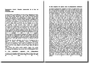 Cour de cassation, Chambre commerciale, 8 novembre 2005: le cautionnement