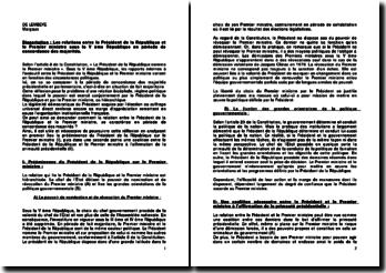 Les relations entre le Président de la République et le Premier ministre sous la Ve République en période de concordance des majorités