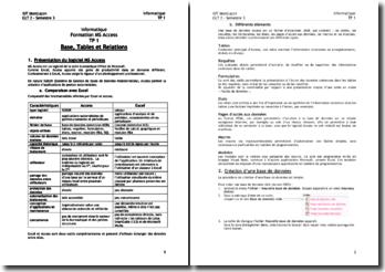 Informatique, formation MS Acces: base, tables et relations