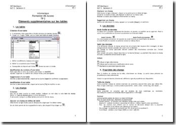Formation MS Access: éléments supplémentaires sur les tables