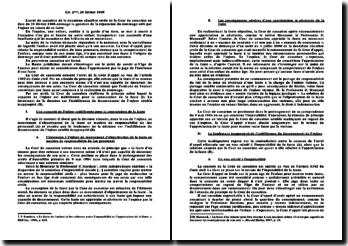 Arrêt de cassation, deuxième chambre civile, 28 février 1996: réparation du dommage subi par l'infans en raison de sa faute
