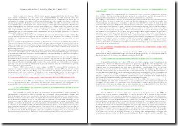 Commentaire de l'arrêt de la Civ. 2Ème du 17 mars 2011: responsabilités du fait d'autrui