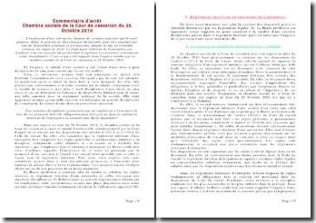 Chambre sociale de la Cour de cassation du 26 Octobre 2010: règlement intérieur et sanctions disciplinaires