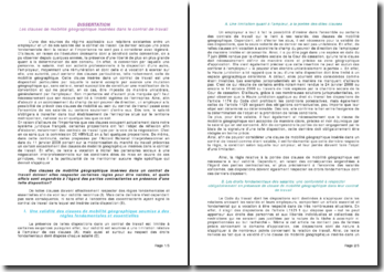 Les clauses de mobilité géographique insérées dans le contrat de travail