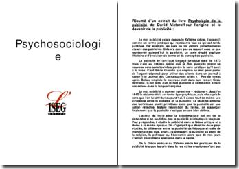 Psychologie de la publicité - David Victoroff - Origine et devenir de la publicité
