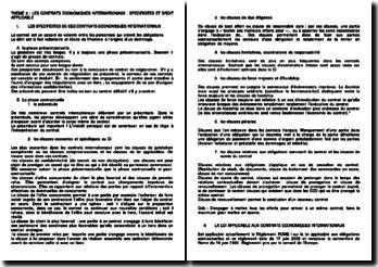Les contrats économiques internationaux: spécificités et droit applicable