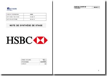 Synthèse de stage: banque HSBC
