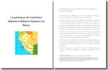 La politique de transition libérale d'Alberto Fujimori au Pérou