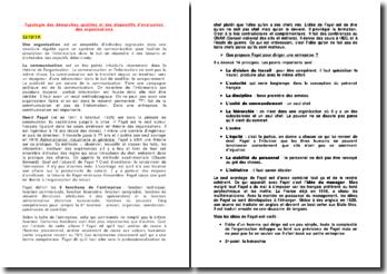 Typologie des démarches qualités et des dispositifs d'évaluation des organisations