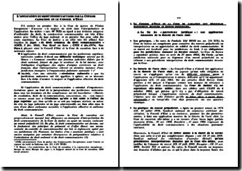 Application du droit communautaire par la Cour de Cassation et le conseil d'Etat