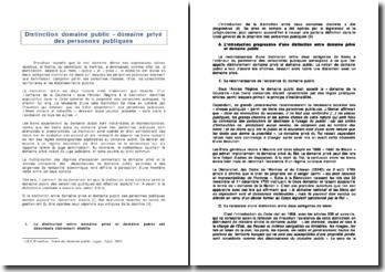 Droit administratif: distinction domaine public - domaine privé des personnes publiques