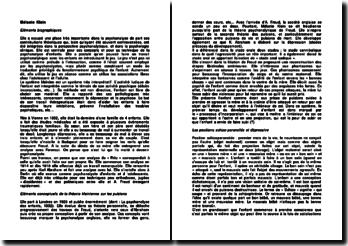 Mélanie Klein: éléments conceptuels de la théorie kleinienne sur les pulsions