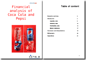 Financial analysis of Coca Cola and Pepsi