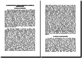 Le constitutionnalisme: notion de constitution et contrôle de constitutionnalité