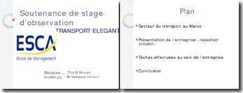 Soutenance d'observation de stage: Transport Elegant