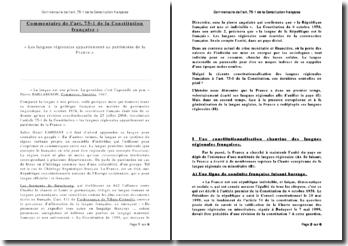Commentaire de l'art. 75-1 de la Constitution française : les langues régionales appartiennent au patrimoine de la France