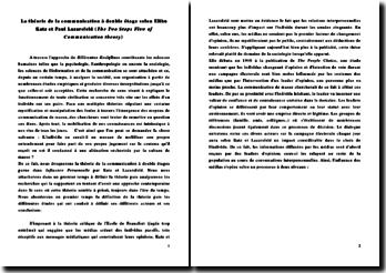 The two steps flow of communication theory: la théorie de la communication à double étage - Elihu Katz et Paul Lazarsfeld
