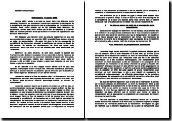 Commentaire 11 janvier 2006: mise en oeuvre du motif de la sauvegarde de la compétitivité