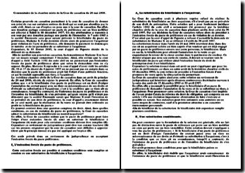 Commentaire de la chambre mixte de la Cour de cassation du 26 mai 2006: violation de l'acte de préférence