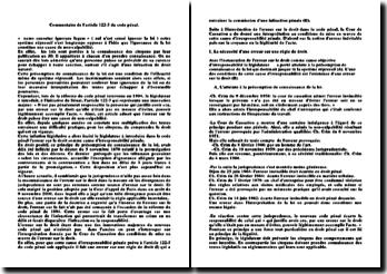 Commentaire de l'article 122-3 du code pénal: nemo censetur ignorare legem, nul n'est censé ignorer la loi