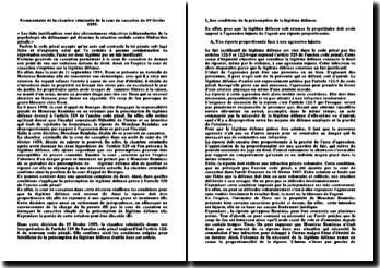 Commentaire de la chambre criminelle de la cour de cassation du 19 février 1959: présomption de la légitime défense