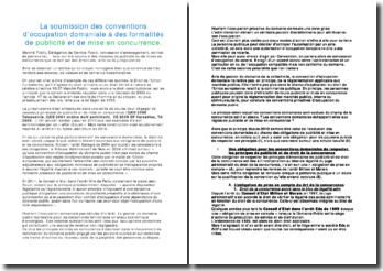 La soumission des conventions d'occupation domaniale à des formalités de publicité et de mise en concurrence