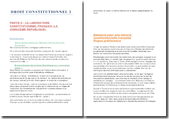 Droit constitutionnel: le laboratoire constitutionnel français (la Vème République)