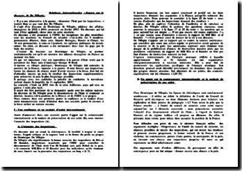 Relations internationales : exposé sur le discours de De Villepin