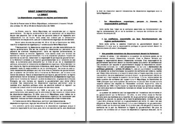 Droit constitutionnel: la dépendance organique en régime parlementaire