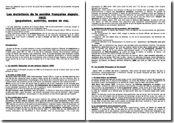 Les mutations de la société française depuis 1945: population, activités et modes de vie