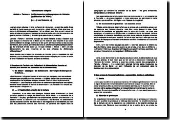 Dictionnaire philosophique - Voltaire - : article « Torture »